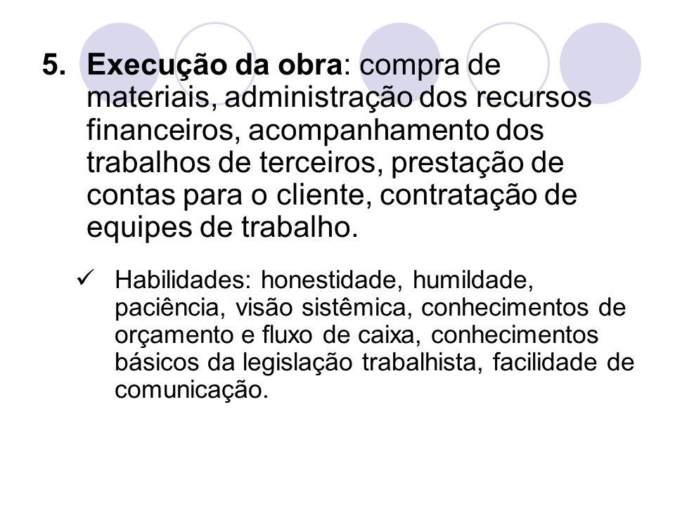 5.Execução da obra: compra de materiais, administração dos recursos financeiros, acompanhamento dos trabalhos de terceiros, prestação de contas para o