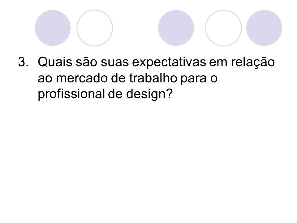 3.Quais são suas expectativas em relação ao mercado de trabalho para o profissional de design?