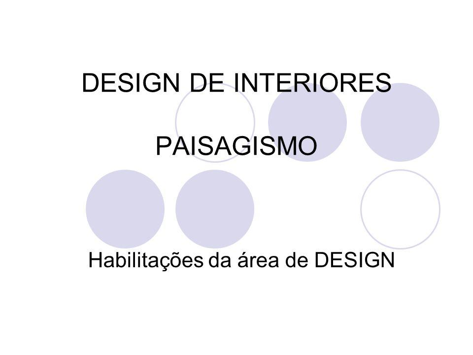 DESIGN DE INTERIORES PAISAGISMO Habilitações da área de DESIGN