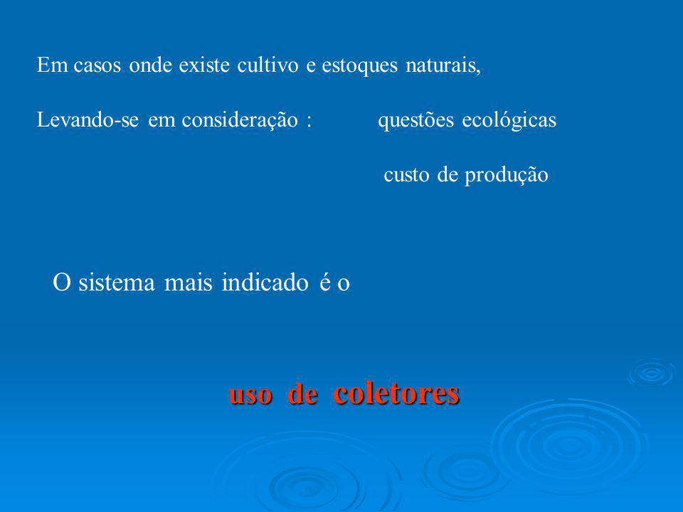 Em casos onde existe cultivo e estoques naturais, Levando-se em consideração : questões ecológicas custo de produção O sistema mais indicado é o uso d