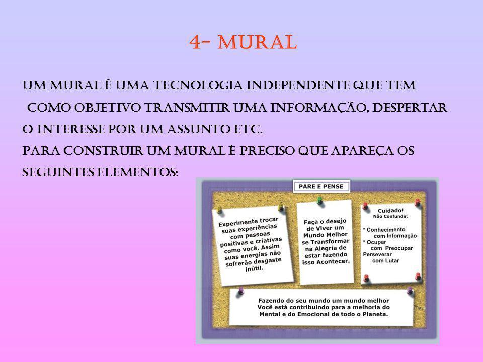 4- MURAL Um mural é uma tecnologia independente que tem como objetivo transmitir uma informação, despertar o interesse por um assunto etc. Para constr