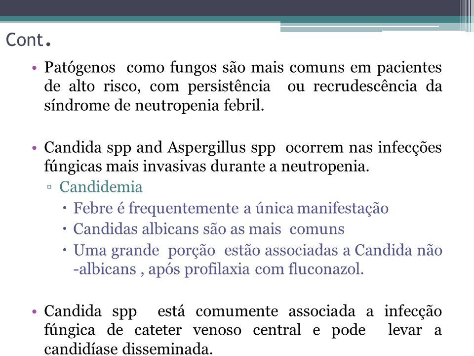 Patógenos como fungos são mais comuns em pacientes de alto risco, com persistência ou recrudescência da síndrome de neutropenia febril. Candida spp an