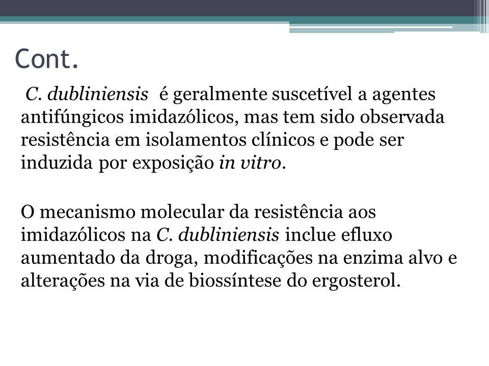 Cont. C. dubliniensis é geralmente suscetível a agentes antifúngicos imidazólicos, mas tem sido observada resistência em isolamentos clínicos e pode s