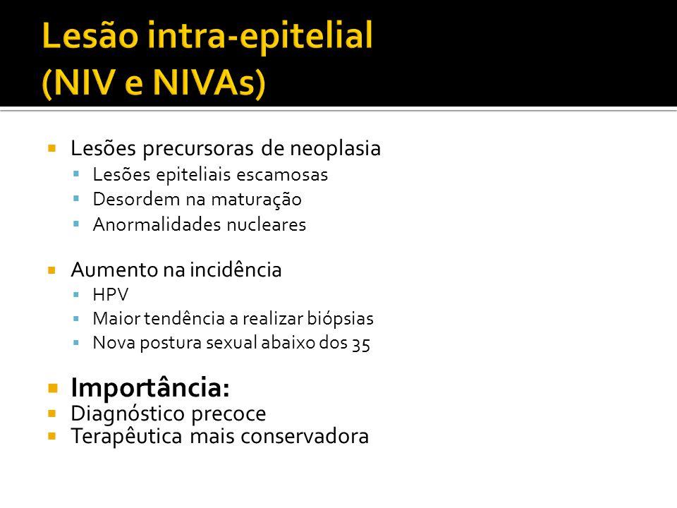 NEOPLASIA INTRA-EPITELIAL VULVAR (NIV) CLASSIFICAÇÃO ANTIGA  NIV I  Não neoplásico.