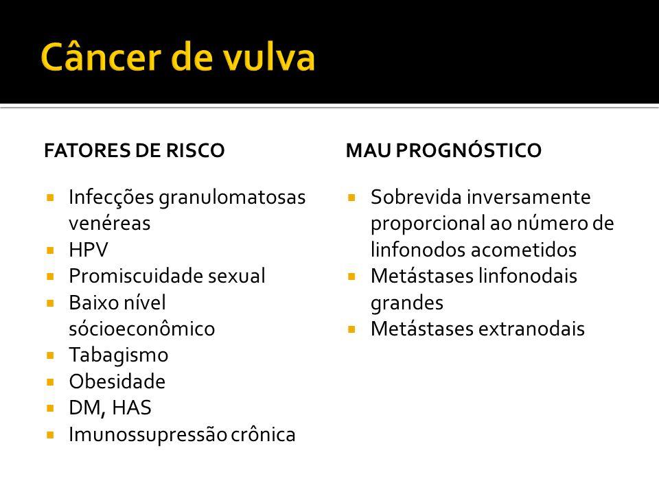 FATORES DE RISCO  Infecções granulomatosas venéreas  HPV  Promiscuidade sexual  Baixo nível sócioeconômico  Tabagismo  Obesidade  DM, HAS  Imu