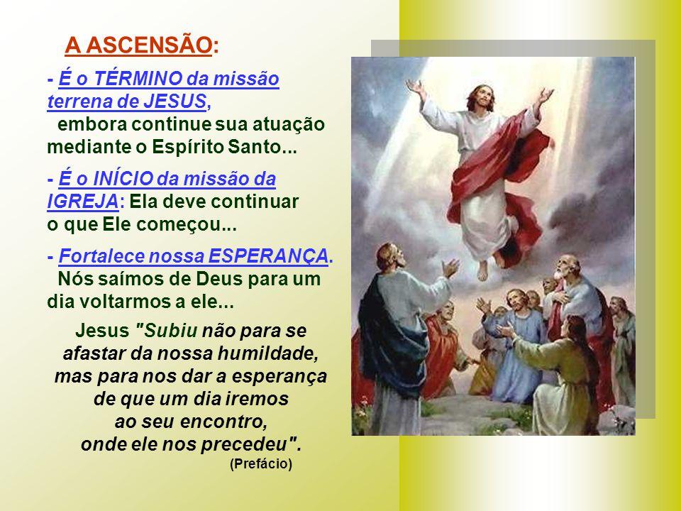 O Evangelho de Lucas termina com a ASCENSÃO. (Lc 24,46-53) Na despedida, Jesus define a MISSÃO dos discípulos. Ao contrário dos