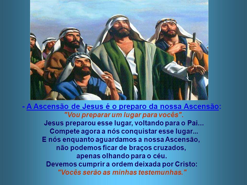 A ASCENSÃO: - É o TÉRMINO da missão terrena de JESUS, embora continue sua atuação mediante o Espírito Santo... - É o INÍCIO da missão da IGREJA: Ela d