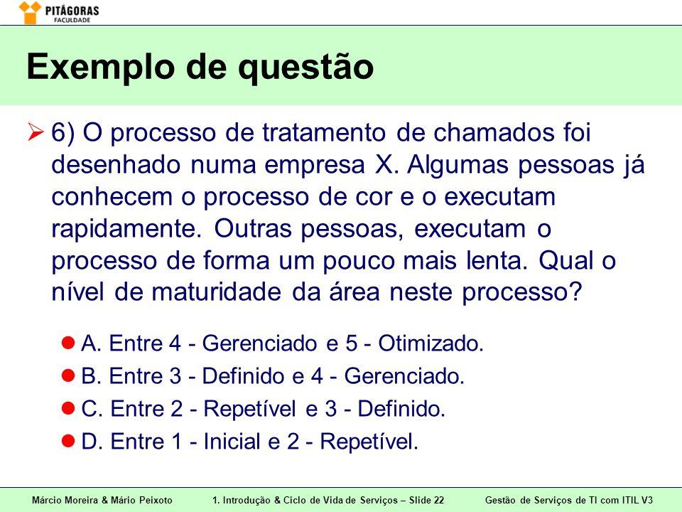 Márcio Moreira & Mário Peixoto1. Introdução & Ciclo de Vida de Serviços – Slide 22 Gestão de Serviços de TI com ITIL V3 Exemplo de questão  6) O proc