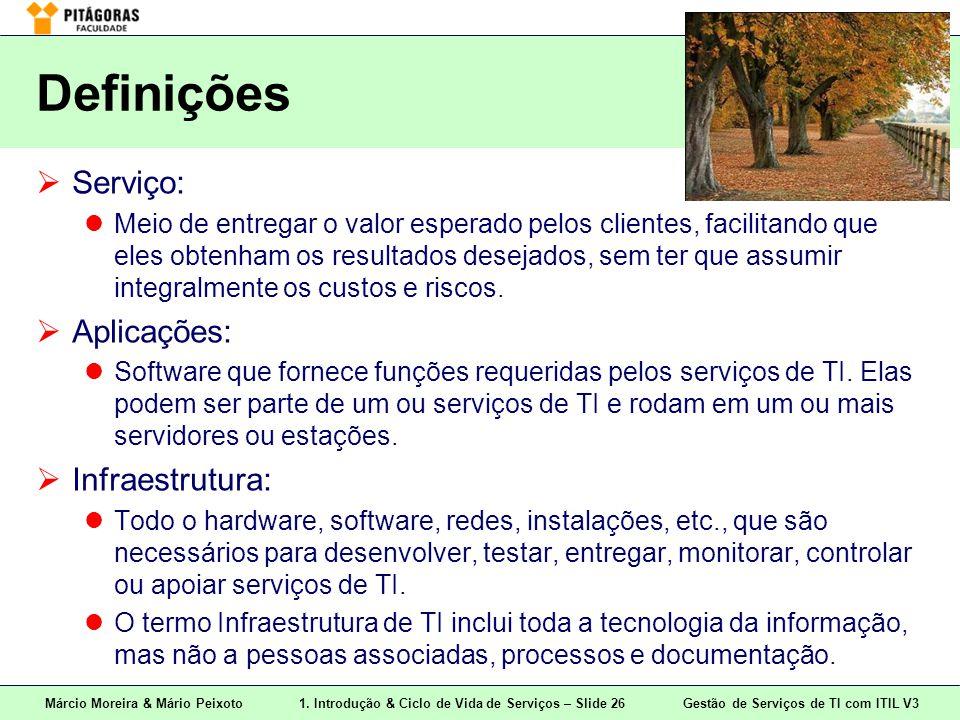 Márcio Moreira & Mário Peixoto1. Introdução & Ciclo de Vida de Serviços – Slide 26 Gestão de Serviços de TI com ITIL V3 Definições  Serviço: Meio de