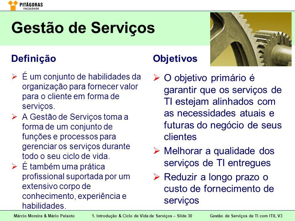 Márcio Moreira & Mário Peixoto1. Introdução & Ciclo de Vida de Serviços – Slide 30 Gestão de Serviços de TI com ITIL V3 Gestão de Serviços Definição 