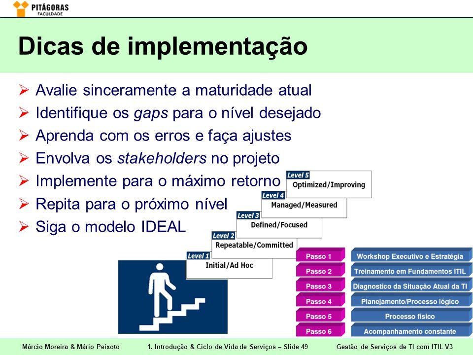 Márcio Moreira & Mário Peixoto1. Introdução & Ciclo de Vida de Serviços – Slide 49 Gestão de Serviços de TI com ITIL V3 Dicas de implementação  Avali