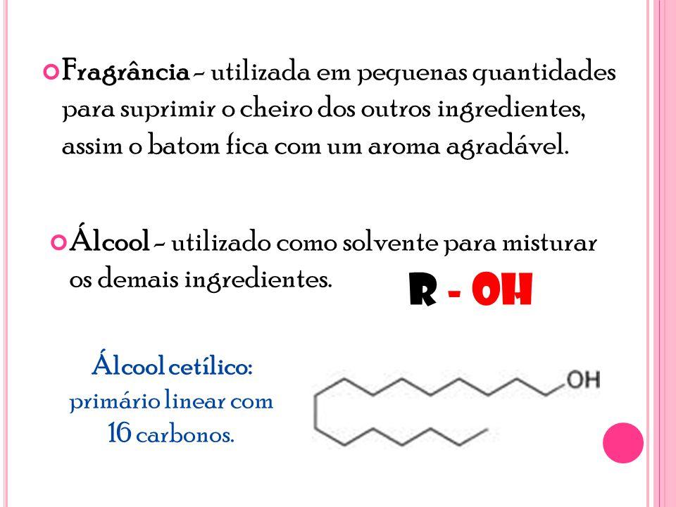 Fragrância - utilizada em pequenas quantidades para suprimir o cheiro dos outros ingredientes, assim o batom fica com um aroma agradável.