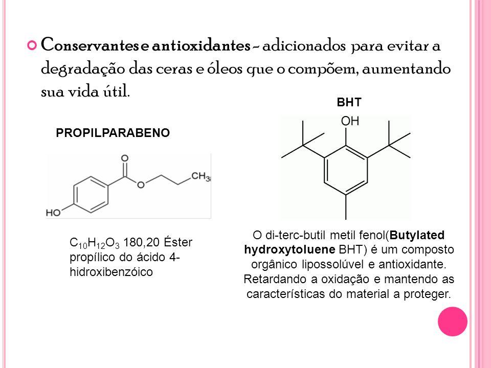 Conservantes e antioxidantes - adicionados para evitar a degradação das ceras e óleos que o compõem, aumentando sua vida útil.