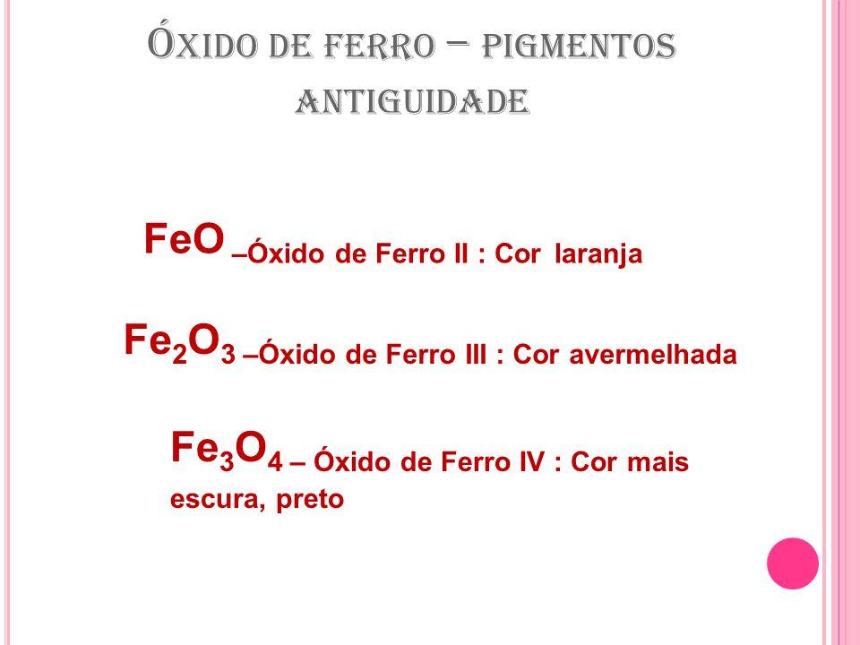 Ó XIDO DE FERRO – PIGMENTOS ANTIGUIDADE Fe 2 O 3 –Óxido de Ferro III : Cor avermelhada Fe 3 O 4 – Óxido de Ferro IV : Cor mais escura, preto FeO –Óxido de Ferro II : Cor laranja