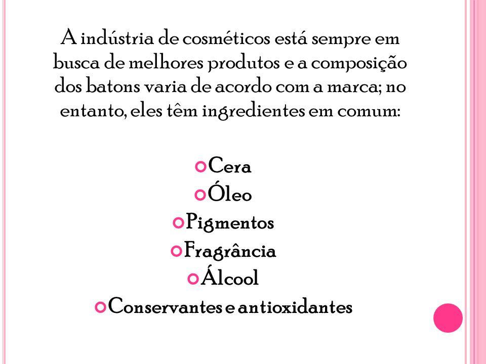 A indústria de cosméticos está sempre em busca de melhores produtos e a composição dos batons varia de acordo com a marca; no entanto, eles têm ingredientes em comum: Cera Óleo Pigmentos Fragrância Álcool Conservantes e antioxidantes