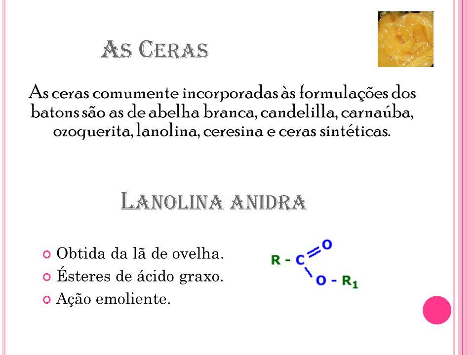 A S C ERAS As ceras comumente incorporadas às formulações dos batons são as de abelha branca, candelilla, carnaúba, ozoquerita, lanolina, ceresina e ceras sintéticas.