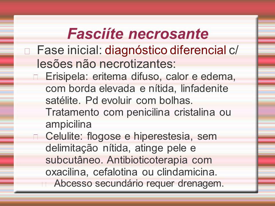 Fasciíte necrosante Fase inicial: diagnóstico diferencial c/ lesões não necrotizantes: Erisipela: eritema difuso, calor e edema, com borda elevada e n