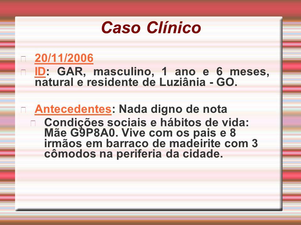 Caso Clínico 20/11/2006 ID: GAR, masculino, 1 ano e 6 meses, natural e residente de Luziânia - GO. Antecedentes: Nada digno de nota Condições sociais