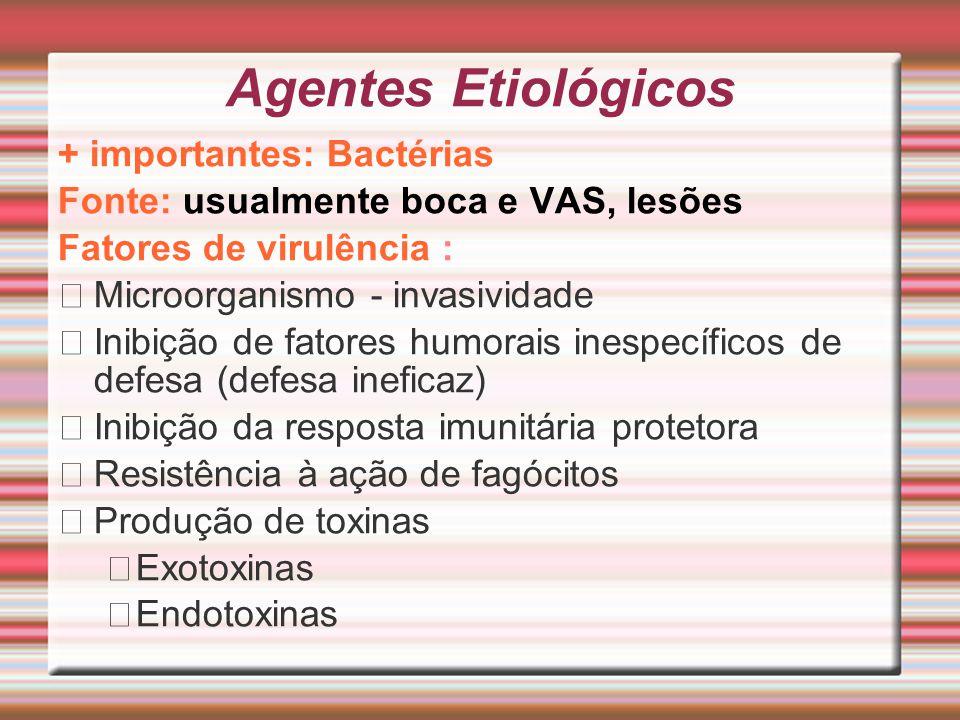 Agentes Etiológicos + importantes: Bactérias Fonte: usualmente boca e VAS, lesões Fatores de virulência : Microorganismo - invasividade Inibição de fa