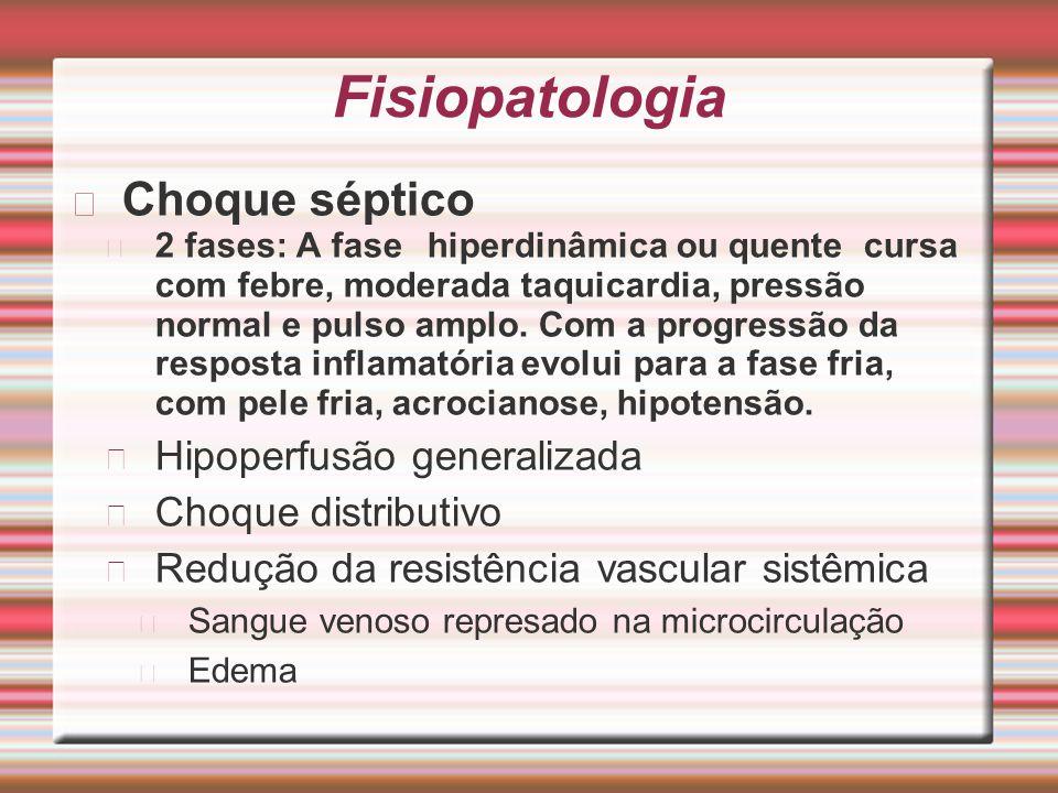 Fisiopatologia Choque séptico 2 fases: A fase hiperdinâmica ou quente cursa com febre, moderada taquicardia, pressão normal e pulso amplo. Com a progr