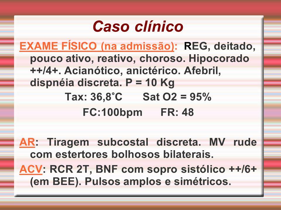 Caso clínico EXAME FÍSICO (na admissão): REG, deitado, pouco ativo, reativo, choroso. Hipocorado ++/4+. Acianótico, anictérico. Afebril, dispnéia disc