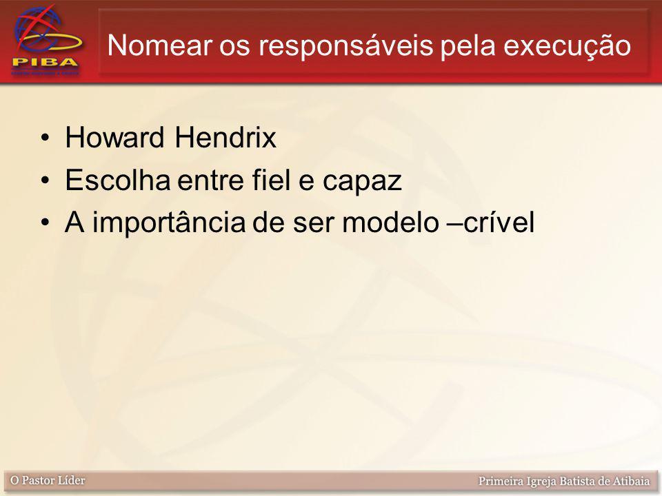 Nomear os responsáveis pela execução Howard Hendrix Escolha entre fiel e capaz A importância de ser modelo –crível