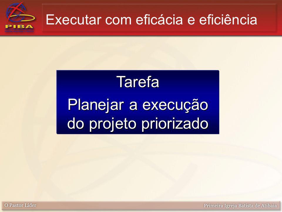 Tarefa Planejar a execução do projeto priorizado