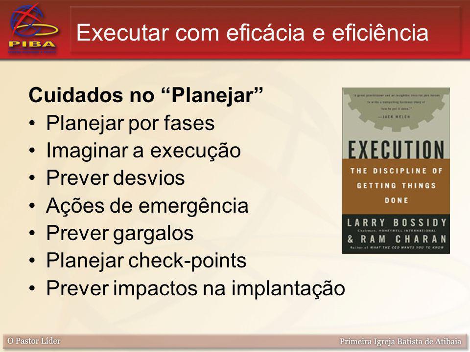 """Cuidados no """"Planejar"""" Planejar por fases Imaginar a execução Prever desvios Ações de emergência Prever gargalos Planejar check-points Prever impactos"""