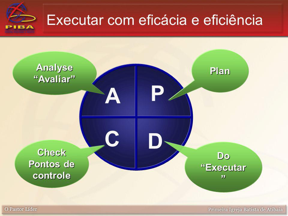 P D A C Plan Do Executar Analyse Avaliar Check Pontos de controle Executar com eficácia e eficiência