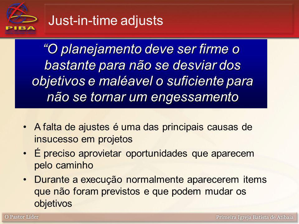 """Just-in-time adjusts """"O planejamento deve ser firme o bastante para não se desviar dos objetivos e maléavel o suficiente para não se tornar um engessa"""