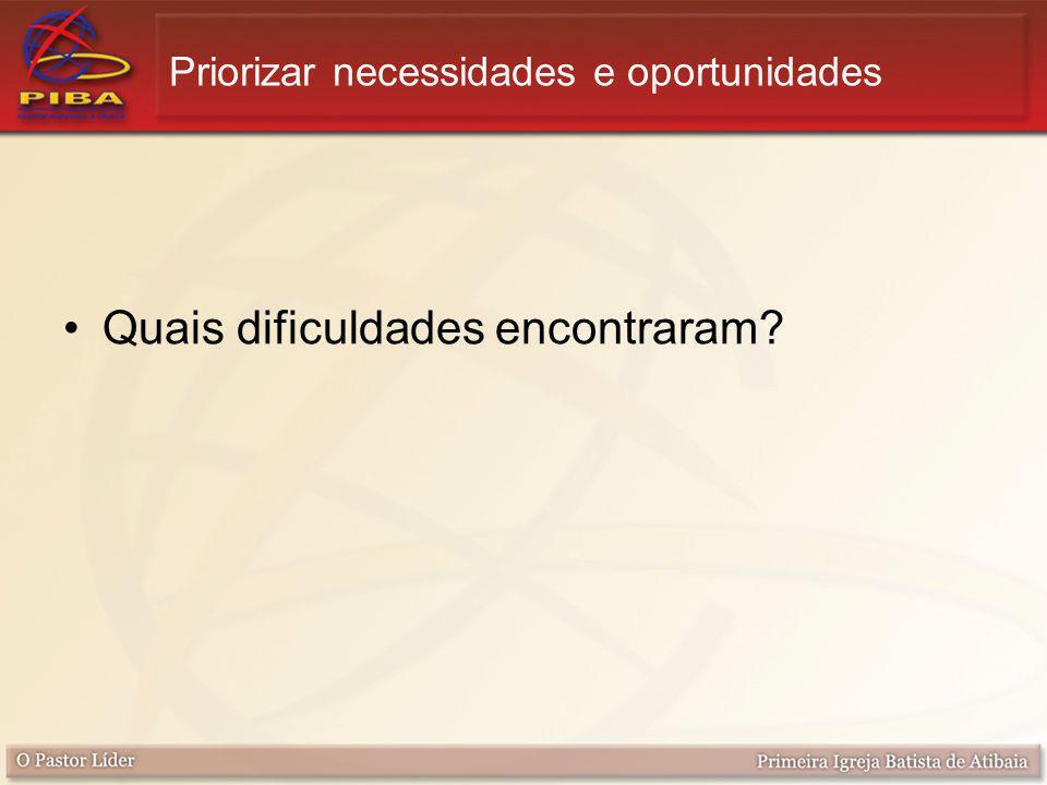 Priorizar necessidades e oportunidades Quais dificuldades encontraram?