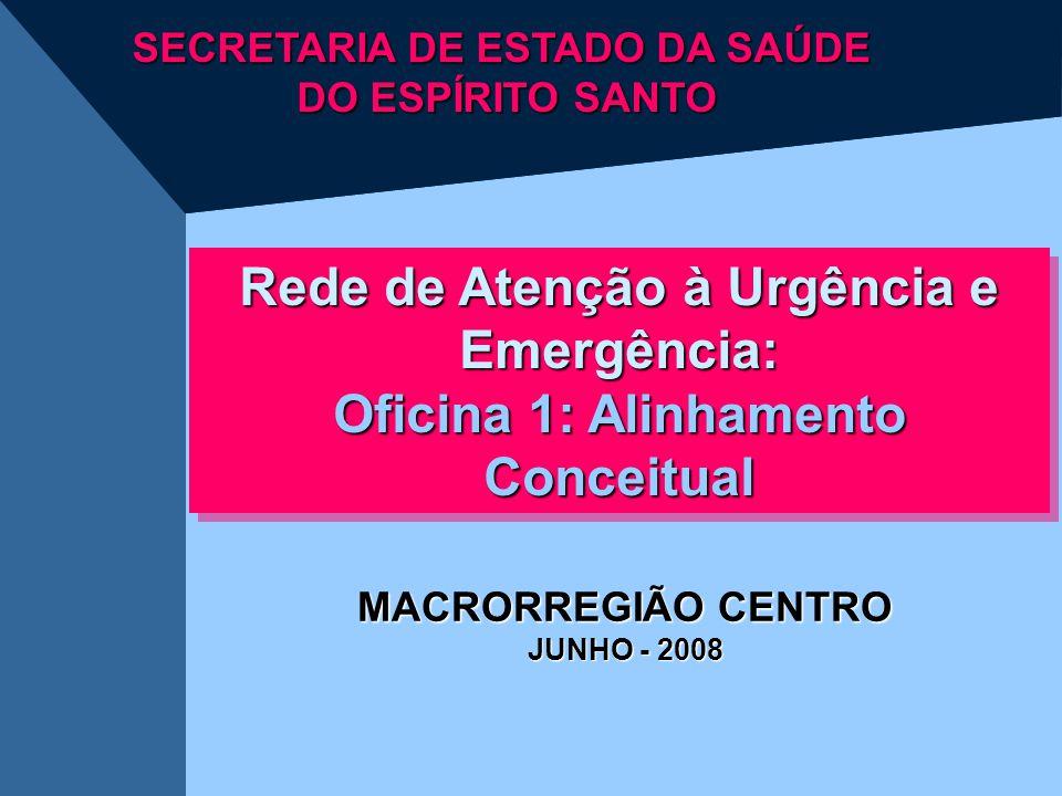 Rede de Atenção à Urgência e Emergência: Oficina 1: Alinhamento Conceitual Rede de Atenção à Urgência e Emergência: Oficina 1: Alinhamento Conceitual