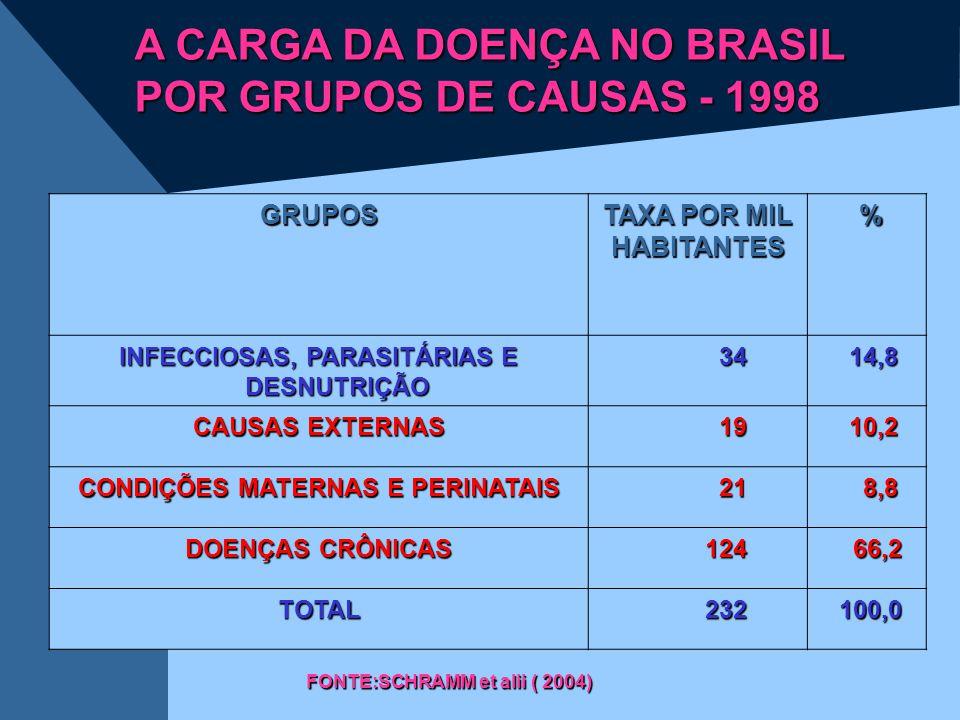 GRUPOS TAXA POR MIL HABITANTES % INFECCIOSAS, PARASITÁRIAS E DESNUTRIÇÃO 34 34 14,8 14,8 CAUSAS EXTERNAS 19 19 10,2 10,2 CONDIÇÕES MATERNAS E PERINATA