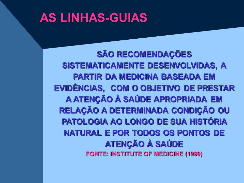 AS LINHAS-GUIAS SÃO RECOMENDAÇÕES SISTEMATICAMENTE DESENVOLVIDAS, A PARTIR DA MEDICINA BASEADA EM EVIDÊNCIAS, COM O OBJETIVO DE PRESTAR A ATENÇÃO À SA