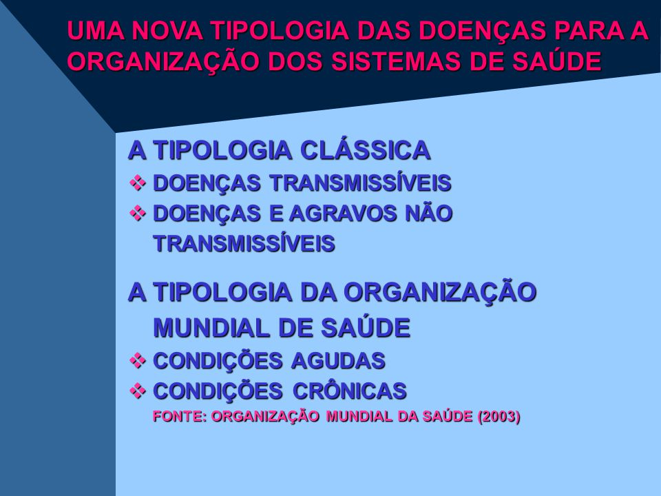 UMA NOVA TIPOLOGIA DAS DOENÇAS PARA A ORGANIZAÇÃO DOS SISTEMAS DE SAÚDE A TIPOLOGIA CLÁSSICA  DOENÇAS TRANSMISSÍVEIS  DOENÇAS E AGRAVOS NÃO TRANSMIS
