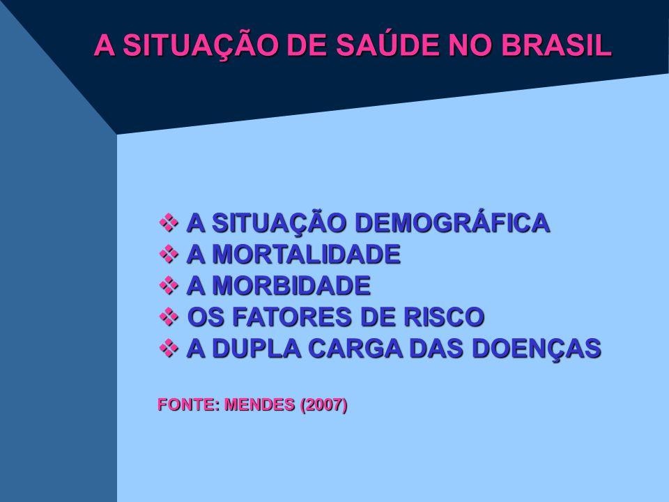 A SITUAÇÃO DE SAÚDE NO BRASIL  A SITUAÇÃO DEMOGRÁFICA  A MORTALIDADE  A MORBIDADE  OS FATORES DE RISCO  A DUPLA CARGA DAS DOENÇAS FONTE: MENDES (