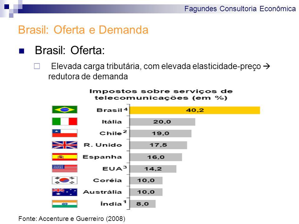 Fagundes Consultoria Econômica Brasil: Oferta e Demanda Brasil: Oferta:  Elevada carga tributária, com elevada elasticidade-preço  redutora de demanda Fonte: Accenture e Guerreiro (2008)