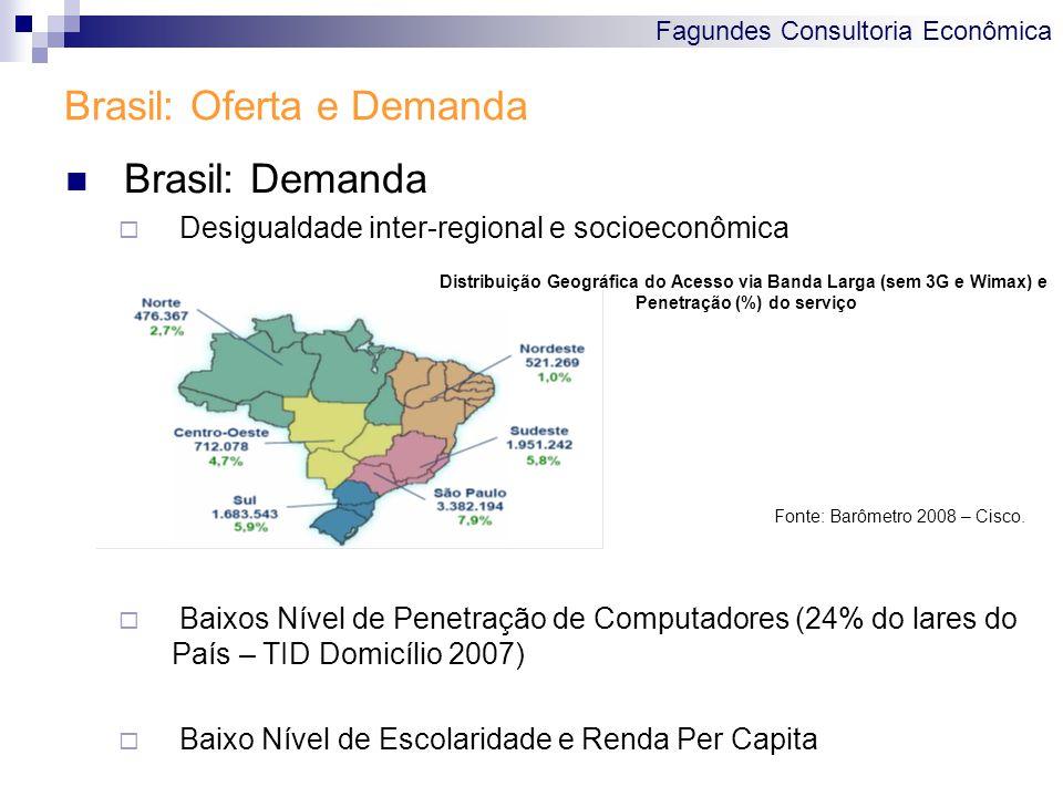 Fagundes Consultoria Econômica Brasil: Oferta e Demanda Brasil: Demanda  Desigualdade inter-regional e socioeconômica  Baixos Nível de Penetração de Computadores (24% do lares do País – TID Domicílio 2007)  Baixo Nível de Escolaridade e Renda Per Capita Fonte: Barômetro 2008 – Cisco.