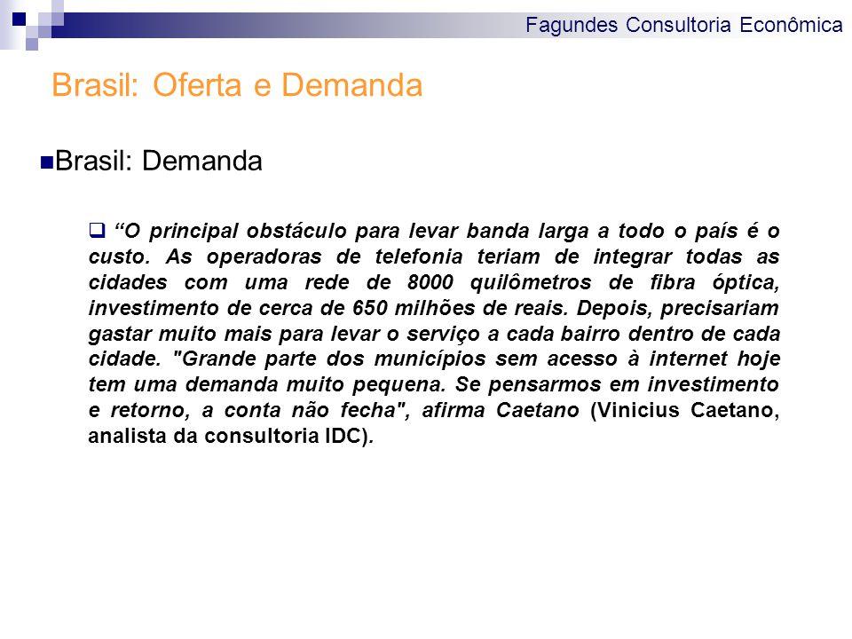 Fagundes Consultoria Econômica Brasil: Oferta e Demanda  O principal obstáculo para levar banda larga a todo o país é o custo.