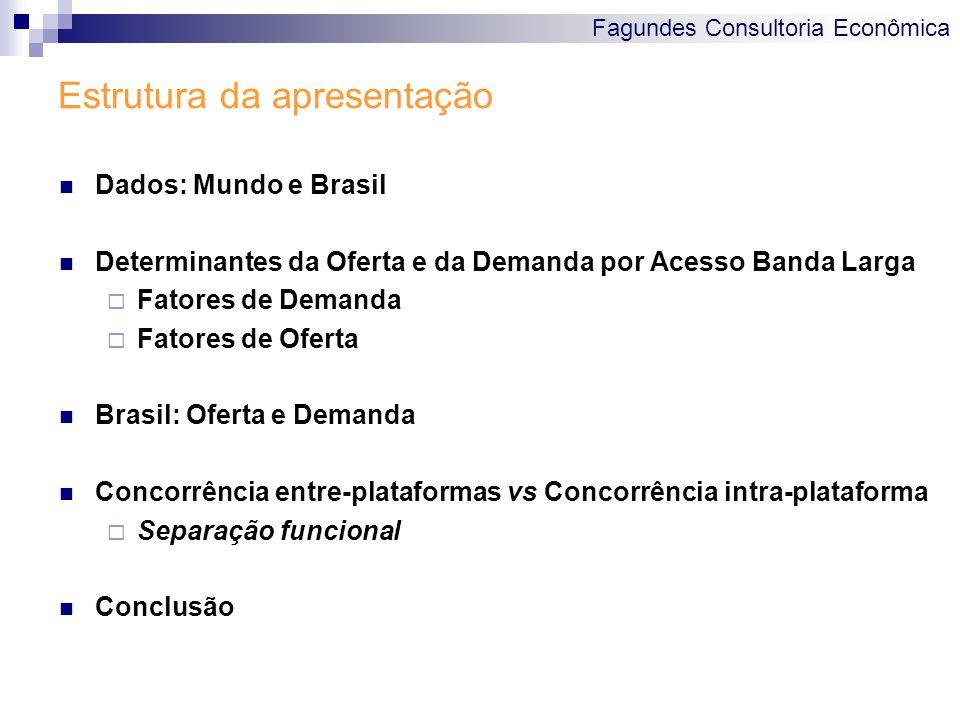 Fagundes Consultoria Econômica Estrutura da apresentação Dados: Mundo e Brasil Determinantes da Oferta e da Demanda por Acesso Banda Larga  Fatores d