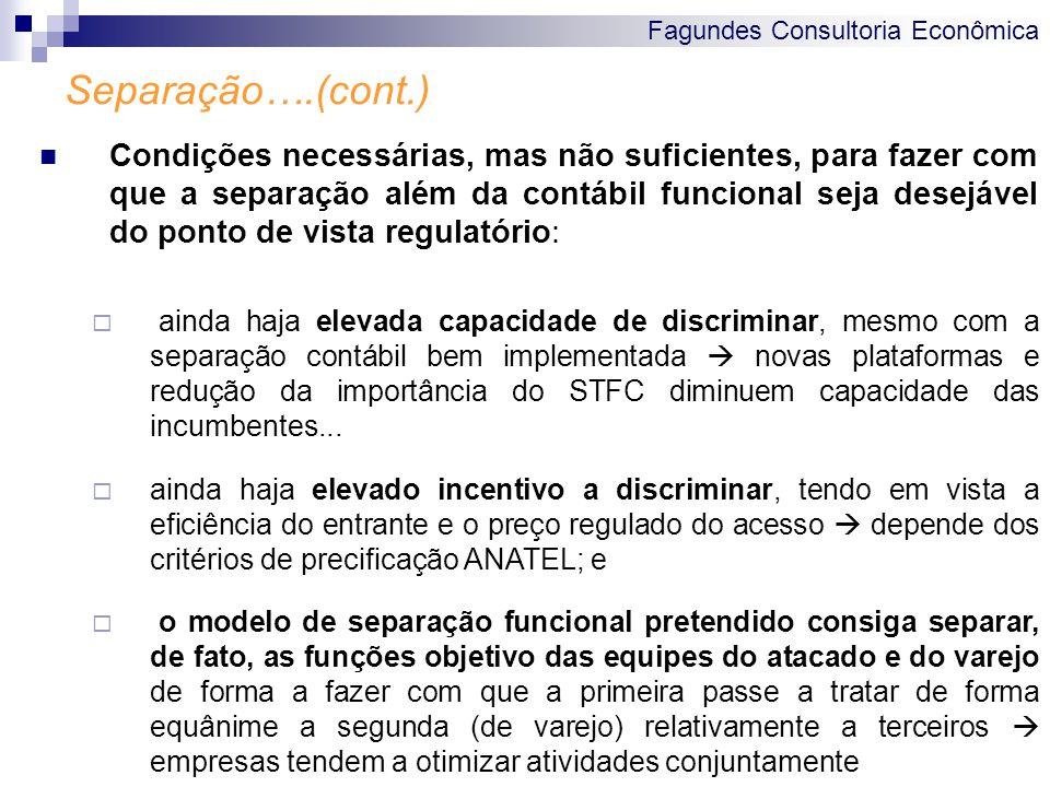 Fagundes Consultoria Econômica Separação….(cont.) Condições necessárias, mas não suficientes, para fazer com que a separação além da contábil funciona