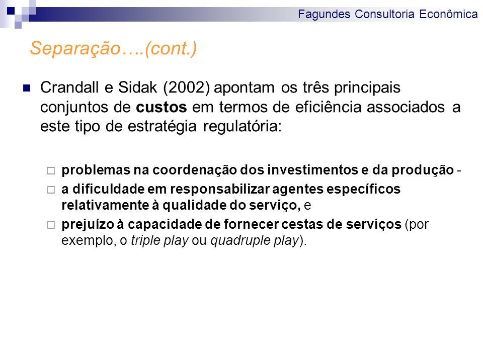 Fagundes Consultoria Econômica Separação….(cont.) Crandall e Sidak (2002) apontam os três principais conjuntos de custos em termos de eficiência assoc