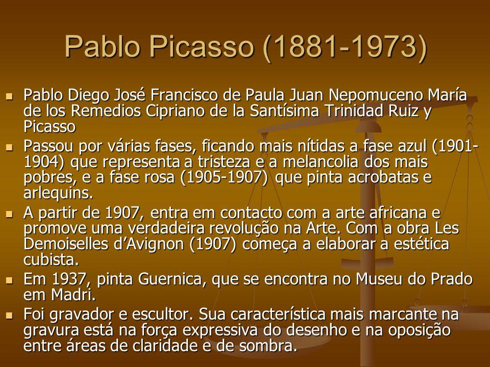 Pablo Picasso (1881-1973) Pablo Diego José Francisco de Paula Juan Nepomuceno María de los Remedios Cipriano de la Santísima Trinidad Ruiz y Picasso P