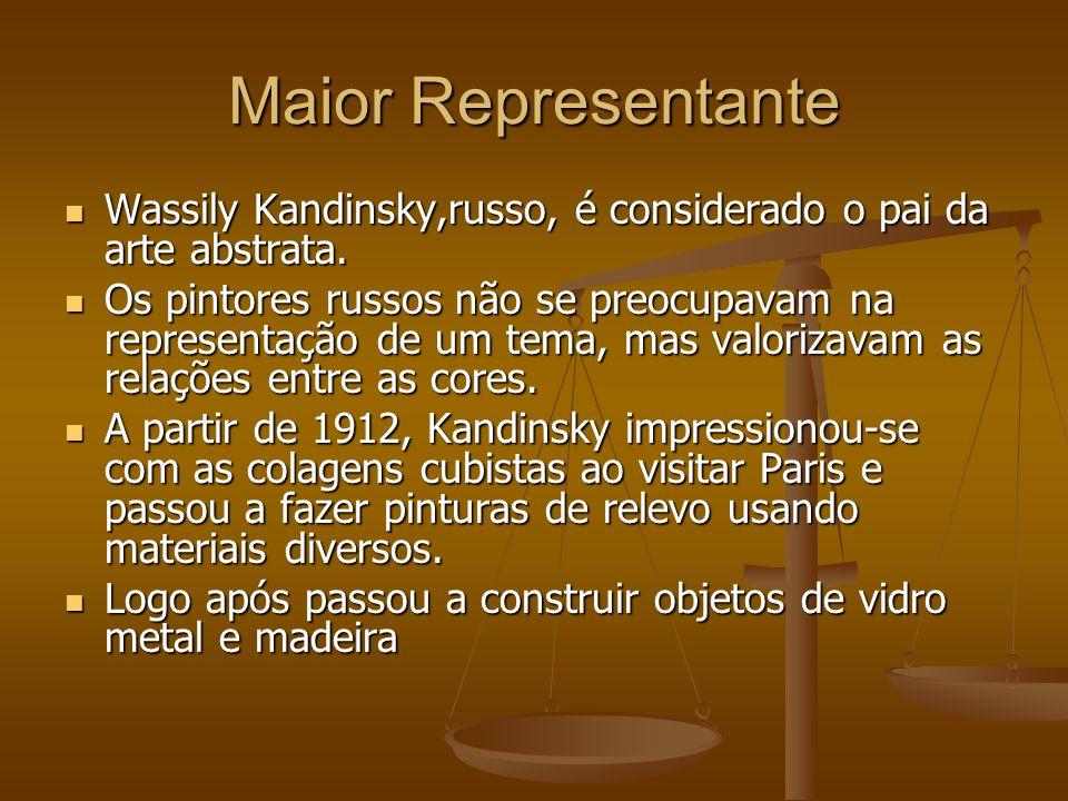 Maior Representante Wassily Kandinsky,russo, é considerado o pai da arte abstrata. Wassily Kandinsky,russo, é considerado o pai da arte abstrata. Os p
