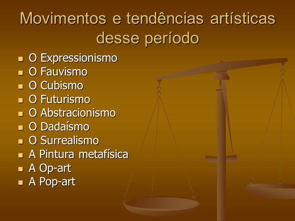 Movimentos e tendências artísticas desse período O Expressionismo O Expressionismo O Fauvismo O Fauvismo O Cubismo O Cubismo O Futurismo O Futurismo O