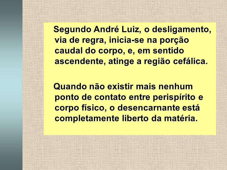 Segundo André Luiz, o desligamento, via de regra, inicia-se na porção caudal do corpo, e, em sentido ascendente, atinge a região cefálica.