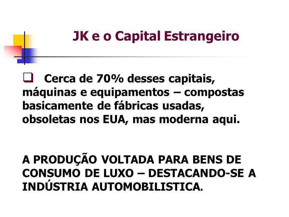 JK e o Capital Estrangeiro  Cerca de 70% desses capitais, máquinas e equipamentos – compostas basicamente de fábricas usadas, obsoletas nos EUA, mas moderna aqui.