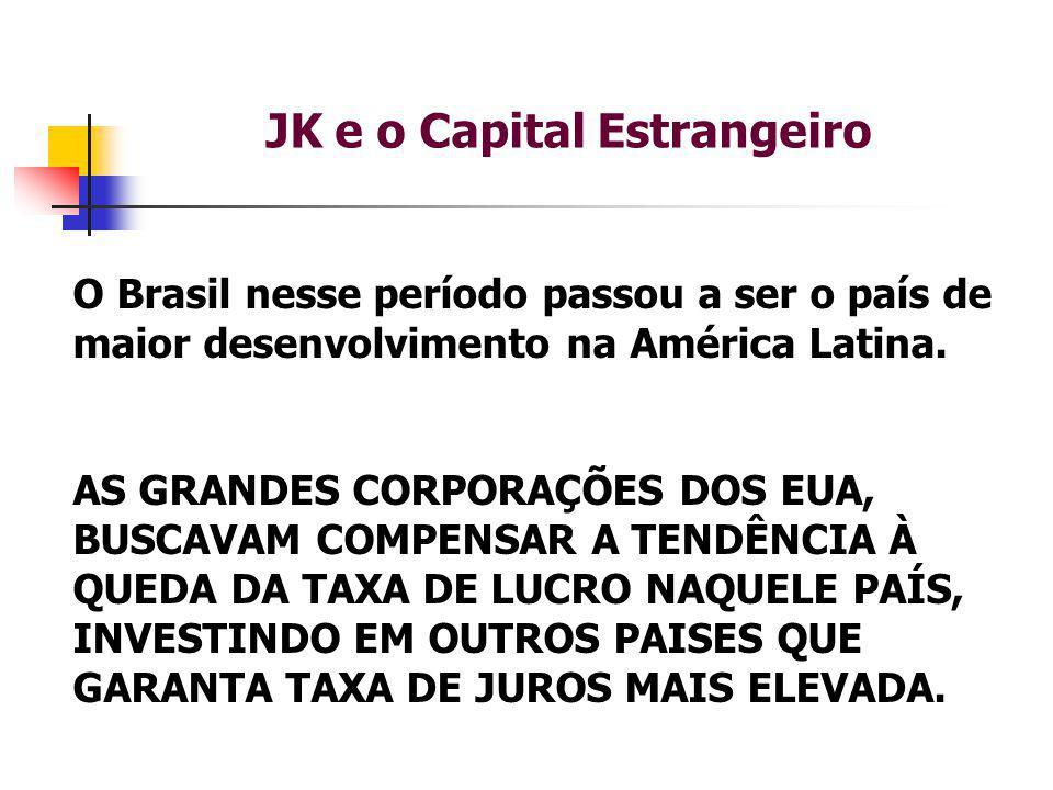 JK e o Capital Estrangeiro O Brasil nesse período passou a ser o país de maior desenvolvimento na América Latina.