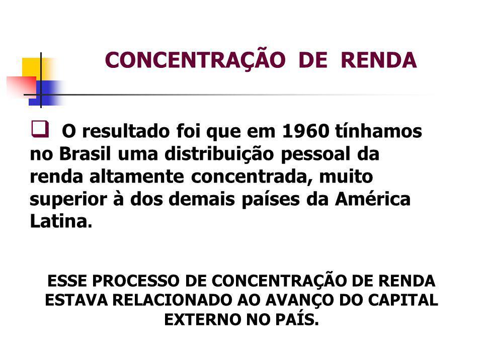 CONCENTRAÇÃO DE RENDA  O resultado foi que em 1960 tínhamos no Brasil uma distribuição pessoal da renda altamente concentrada, muito superior à dos demais países da América Latina.