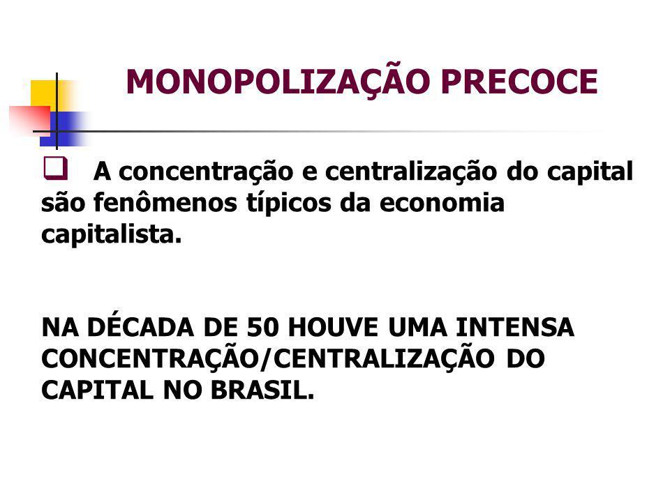 MONOPOLIZAÇÃO PRECOCE  A concentração e centralização do capital são fenômenos típicos da economia capitalista.